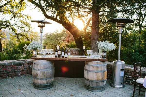 Bar Setup On Wine Barrels